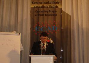 Pranešimas tarptautinėje konferencijoje prieš narkotikus